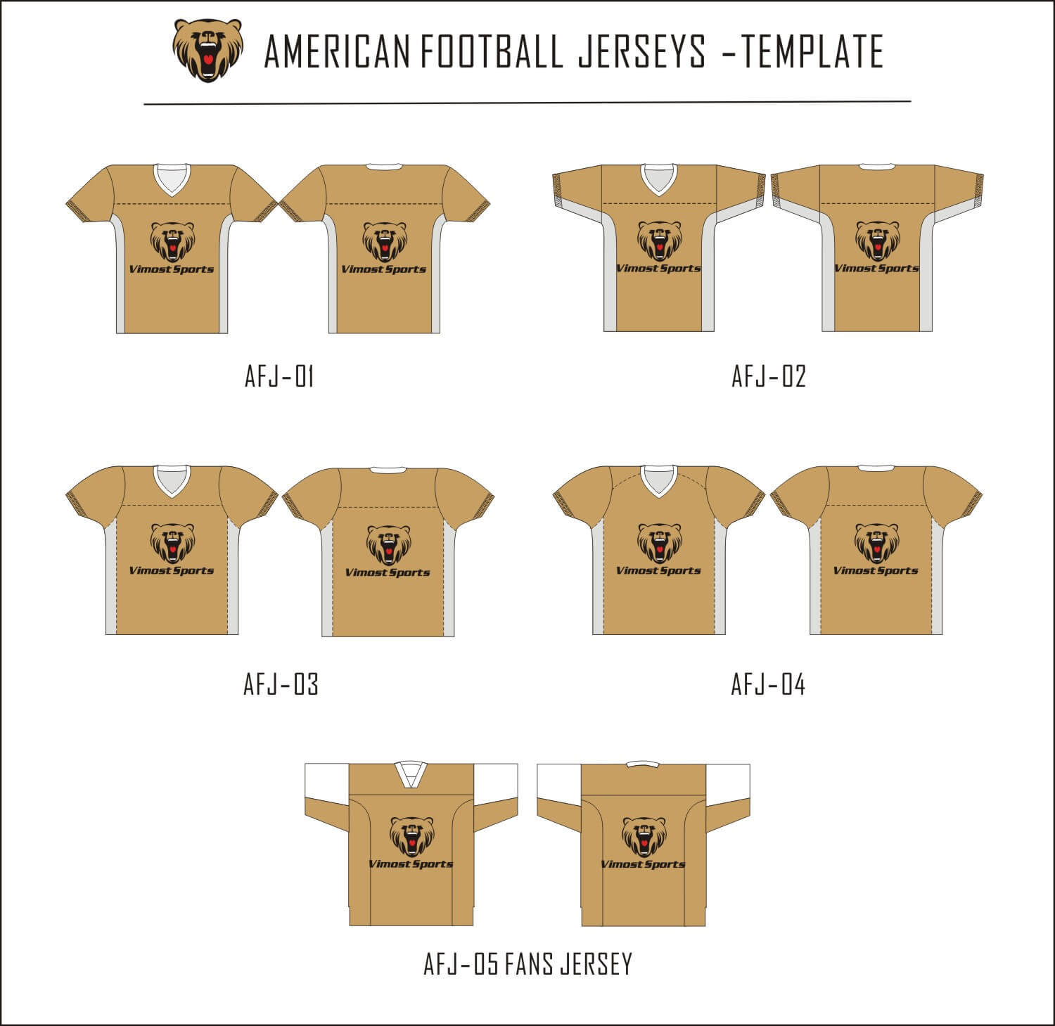 American football jersey-template