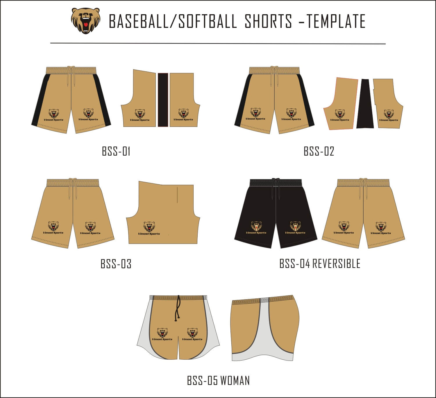BASEBALL SOFTBALL SHORTS-TEMPLATE