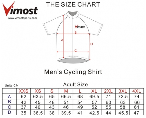 mens cycling shirts-Size Chart
