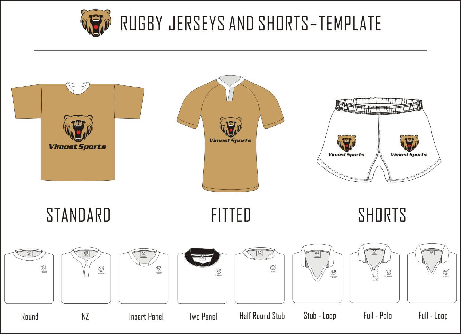 Rugby jersey and shorts-template