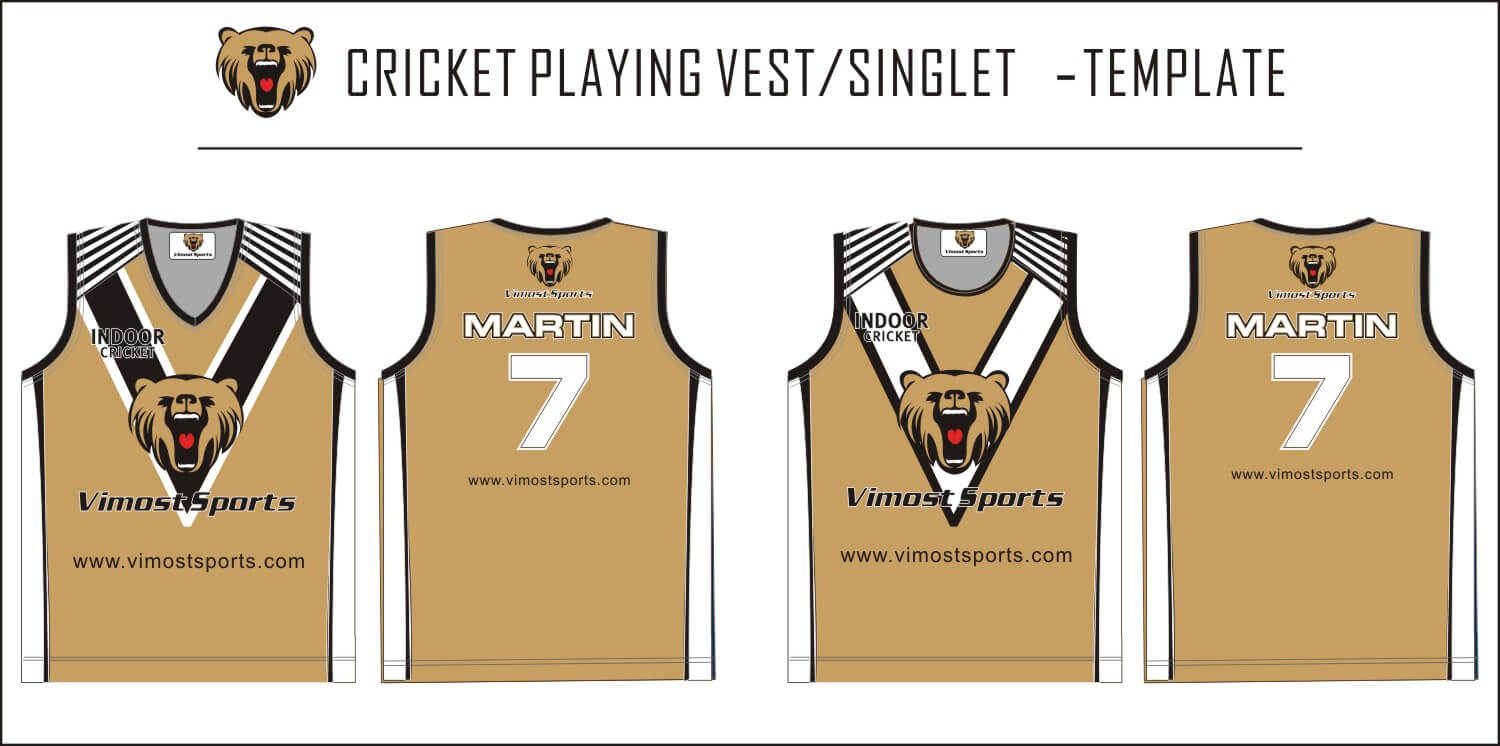 Cricket playing vest singlet-template